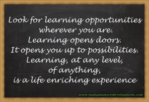 Opportunity for learning, life enrichment